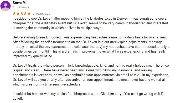 Lovett Family Chiropractic Patient Testimonial
